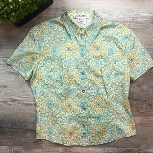 Escada Vintage Short Sleeve Button Down Blouse 38